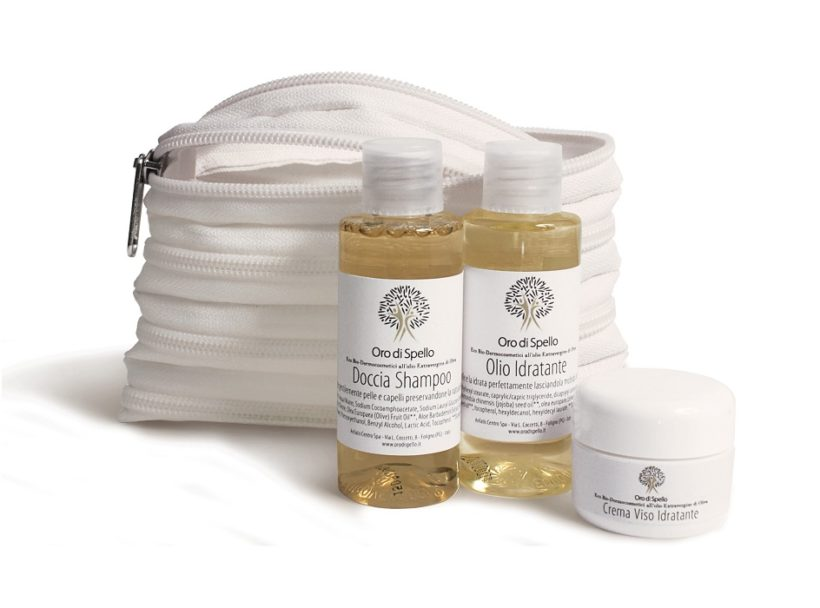 Oro di Spello cestovní sada z extra panenského olivového oleje BIO certifikované produkty