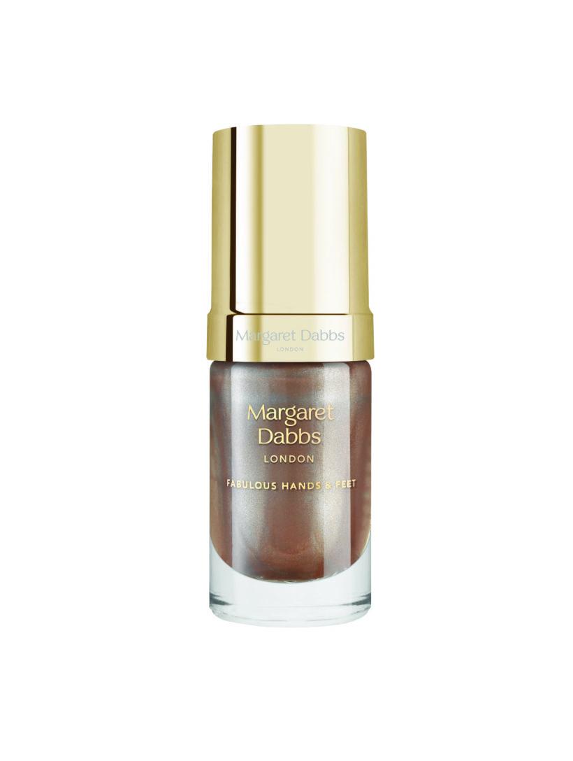Pečující lak na nehty Margaret Dabbs Sugar Rose Gold hnědozlatý třpytivý